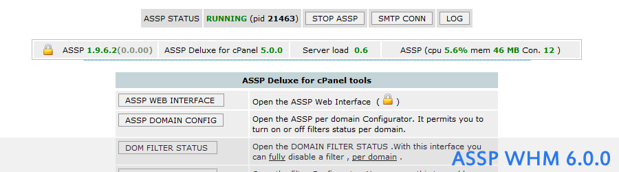 ASSP Deluxe for cPanel antispam and email antivirus plugin